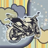 Vector background with a grunge motorcycle.