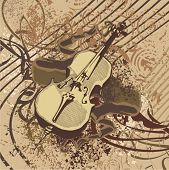 Grunge music instrument background with a violin.
