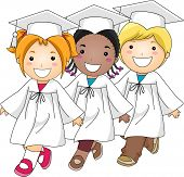 Illustration of Kids Doing the Graduation March