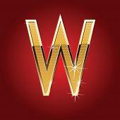 Golden font Letter W