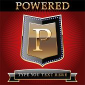 pic of letter p  - Shield in gold and brilliant with alphabet Letter p - JPG