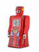 Robot de juguete de lata roja