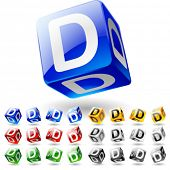 stock photo of letter d  - Glossy alphabet on a cubes - JPG