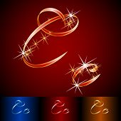 Ribbon styled vector gala alphabet. Applicable for dark and light background. Letter c