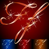 Ribbon styled vector gala alphabet. Applicable for dark and light background. Letter f