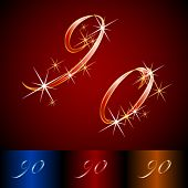 Ribbon styled vector gala alphabet. Applicable for dark and light background. Numbers