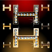 Vector illustration of boldest golden letters with shining diamonds. Character h