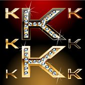 Vector illustration of boldest golden letters with shining diamonds. Character k