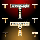 Vector illustration of boldest golden letters with shining diamonds. Character t