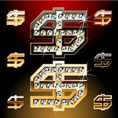 Vector illustration of boldest golden letters with shining diamonds. Dollar symbol