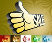 Abstract symbol in the form of arms and the sale word