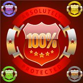 Extra detailed emblem of 100 percent success