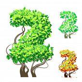 Vektor-Illustration eine zusätzliche detaillierte Baum Alphabet Symbole. Leicht abnehmbare Krone. Zeichen 2