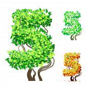 Vektor-Illustration eine zusätzliche detaillierte Baum Alphabet Symbole. Leicht abnehmbare Krone. Zeichen 5