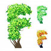 Vektor-Illustration eine zusätzliche detaillierte Baum Alphabet Symbole. Leicht abnehmbare Krone. Zeichen f