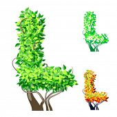 Vector illustration of an extra detailed tree alphabet symbols. Easy detachable crown. character l