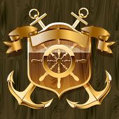 Vector illustration of luxurious yacht club emblem