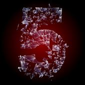 Alphabetic characters of broken glass. Sensitive to the background. Character 5