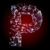Alphabetic characters of broken glass. Sensitive to the background. Character  p