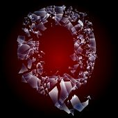 Alphabetic characters of broken glass. Sensitive to the background. Character  q