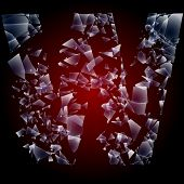 Alphabetic characters of broken glass. Sensitive to the background. Character  w