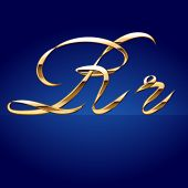 Old styled decorative characters of pure gold. Character  r