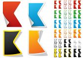 Alphabet set of symbols in the form of stickers on matte paper. Character k
