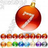 Versatile set of alphabet symbols on Christmas balls. Letter 7