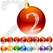 Versatile set of alphabet symbols on Christmas balls. Letter 2