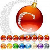 Versatile set of alphabet symbols on Christmas balls. Letter c