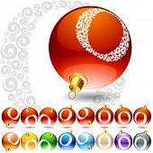 Versatile set of alphabet symbols on Christmas balls. Letter o