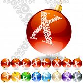 Versatile set of alphabet symbols on Christmas balls. Letter x