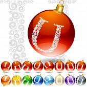Versatile set of alphabet symbols on Christmas balls. Letter u