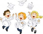 Illustration of Graduates Jumping with Glee