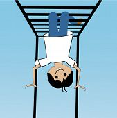 cartoon kid on monkey bars