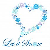 snowflakes in shape of heart multicolored blues