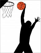 basketball player making basket