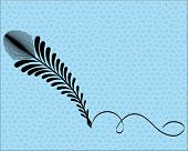feather pen with squiggle and seamless pattern background