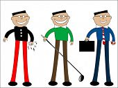 cartoon males - casual, golf and business