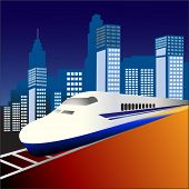 picture of motor coach  - fast train 3 with city behind - JPG