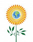 icono ambiental - flor con globo como centro
