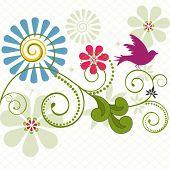 aves con bobinas y flores - copyspace abajo