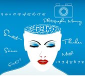 female thinker with puzzle for brain - camera for