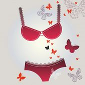 red hot underwear with butterflies