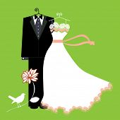 bride and groom suit and dress with bird (layered)