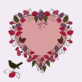 stylized heart with surrounding leaves bird