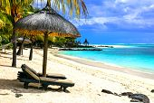 Tropical chilling out - serene beaches of Mauritius island poster