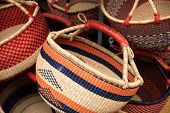picture of portland oregon  - These are handwoven African baskets on display for sale at Portland - JPG