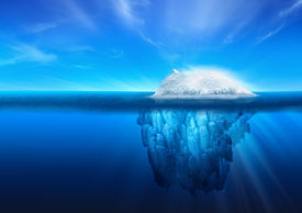 stock photo of iceberg  - A polar bear on top of a natural iceberg glacier on the North Atlantic - JPG