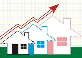 stock photo of graff  - Growth in Real Estate shown on Green Graff - JPG